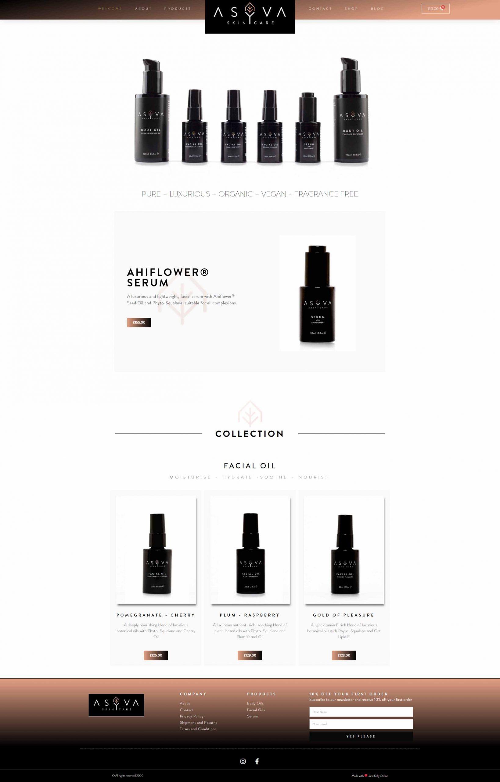 Luxury Skincare Beauty Website - ASYVA